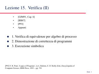 Lezione 15.  Verifica (II)