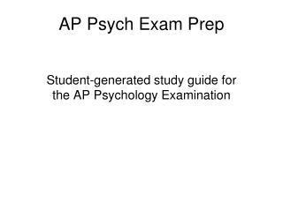 AP Psych Exam Prep