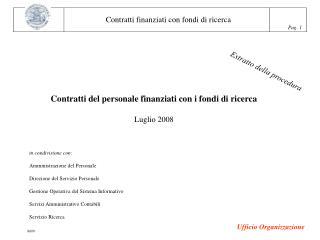 Contratti del personale finanziati con i fondi di ricerca Luglio 2008