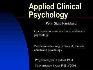 Applied Clinical Psychology