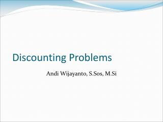 Discounting Problems