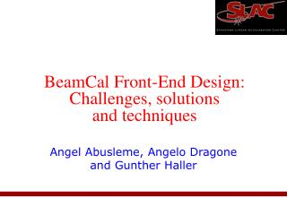 BeamCal Front-End Design: Challenges, solutions and techniques