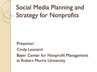 Social Media Planning and Strategy for Nonprofits
