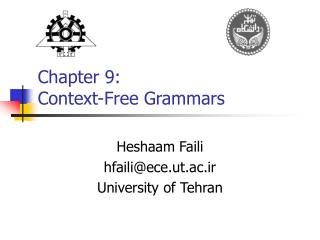 Chapter 9:  Context-Free Grammars