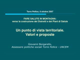 Giovanni Borgarello, Assessore politiche sociali Torre Pellice - UNCEM