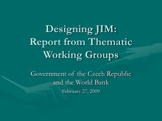 Designing JIM: Report from Thematic Working Groups