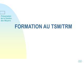 FORMATION AU TSM/TRM