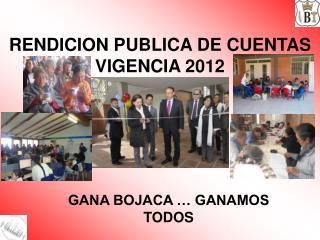 RENDICION PUBLICA DE CUENTAS VIGENCIA 2012