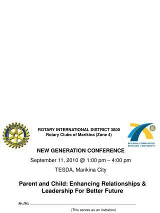 NEW GENERATION CONFERENCE September 11, 2010 @ 1:00 pm – 4:00 pm TESDA, Marikina City