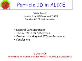 Particle ID in ALICE