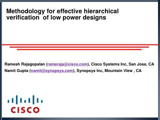 Methodology for effective hierarchical verification  of low power designs