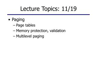 Lecture Topics: 11/19