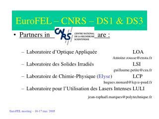 EuroFEL – CNRS – DS1 & DS3