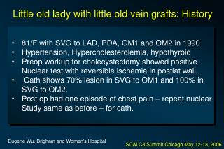 81/F with SVG to LAD, PDA, OM1 and OM2 in 1990 Hypertension, Hypercholesterolemia, hypothyroid