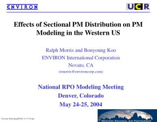 Effects of Sectional PM Distribution on PM Modeling in the Western US