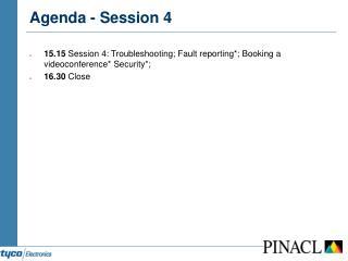Agenda - Session 4