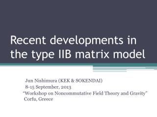 Recent developments in the type IIB matrix model