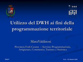 Utilizzo del DWH ai fini della programmazione territoriale