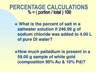 PERCENTAGE CALCULATIONS     portion