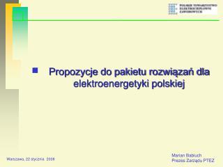 Propozycje do pakietu rozwiązań dla elektroenergetyki polskiej
