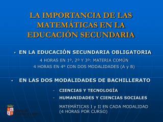 LA IMPORTANCIA DE LAS MATEMÁTICAS EN LA EDUCACIÓN SECUNDARIA