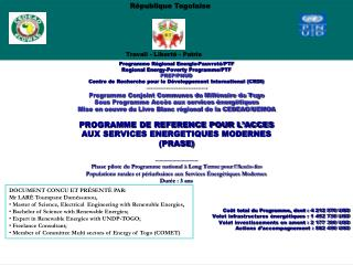 Programme Régional Energie-Pauvreté/PTF Regional Energy - Poverty  Programme/PTF PREP/PNUD