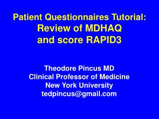 Patient Questionnaires Tutorial: Review of MDHAQ and score RAPID3