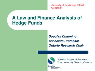 A Law and Finance Analysis of Hedge Funds
