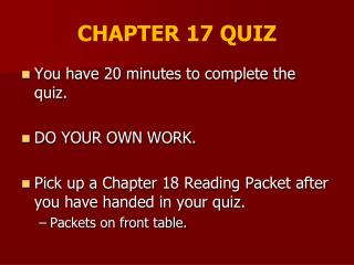 CHAPTER 17 QUIZ