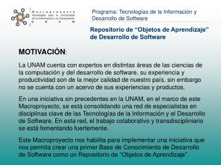 """Repositorio de """"Objetos de Aprendizaje"""" de Desarrollo de Software"""