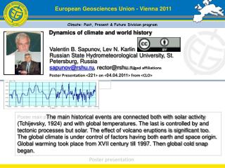 Dynamics of climate and world history