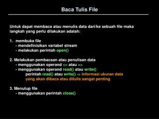 Baca Tulis File