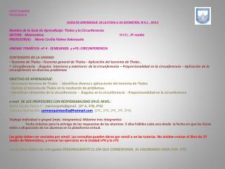 LICEO TAJAMAR PROVIDENCIA GUÍAS  DE  APRENDIZAJE  DE LA ETAPA 4   DE  GEOMETRÍA  N°4.1 -  Nº4.2