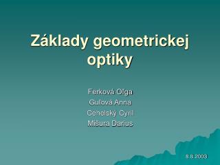 Základy geometrickej optiky