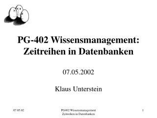 PG-402 Wissensmanagement: Zeitreihen in Datenbanken