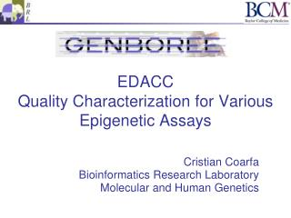 EDACC Quality Characterization for Various Epigenetic Assays