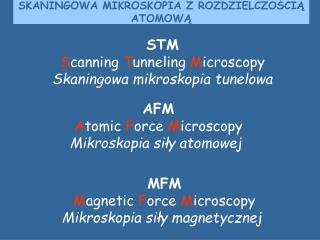 STM S canning  T unneling  M icroscopy Skaningowa mikroskopia tunelowa