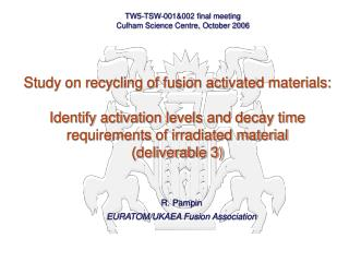 R. Pampin EURATOM/UKAEA Fusion Association