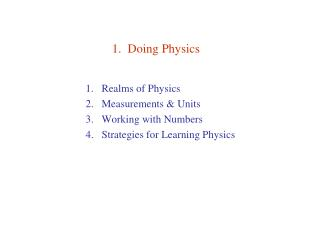 1.  Doing Physics