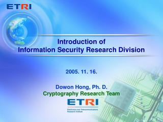 Introduction of  Information Security Research Division