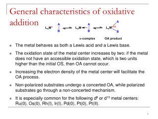 General characteristics of oxidative addition