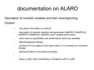 documentation on ALARO
