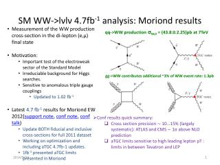 SM WW->lνlν 4.7fb -1  analysis: Moriond results