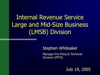 Internal Revenue Service  Large and Mid-Size Business (LMSB) Division