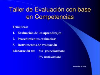 Taller de Evaluación con base en Competencias