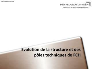 Evolution de la structure et des pôles techniques de FCH