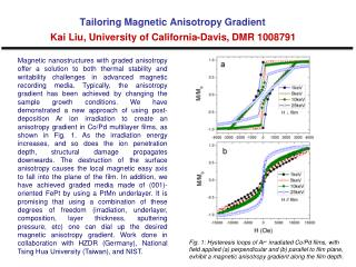 Tailoring Magnetic Anisotropy Gradient Kai Liu, University of California-Davis, DMR 1008791