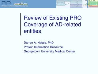Review of Existing PRO Coverage of AD-related entities