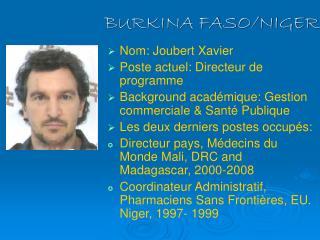 BURKINA FASO/NIGER