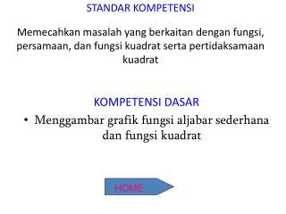 KOMPETENSI DASAR Menggambar grafik fungsi aljabar sederhana dan fungsi kuadrat